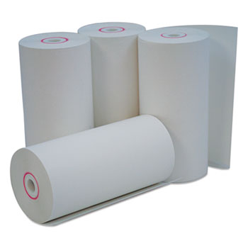 "Direct Thermal Print Paper Rolls, 0.38"" Core, 4.38"" x 127ft, White, 50/Carton"