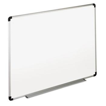 Universal® Dry Erase Board, Melamine, 72 x 48, White, Black/Gray Aluminum/Plastic Frame