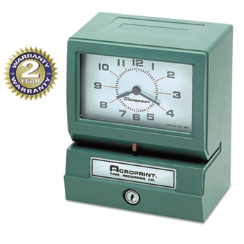 Acroprint® Model 150 Analog Automatic Print Time Clock with Month/Date/0-23 Hours/Minutes