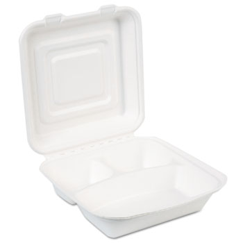 EcoSmart Molded Fiber Food Containers, 3-Comp, 9 1/32 x 2 5/32, White, 250/CT
