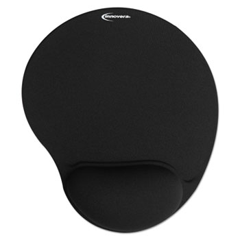 Mouse Pad w/Gel Wrist Pad, Nonskid Base, 10-3/8 x 8-7/8, Black