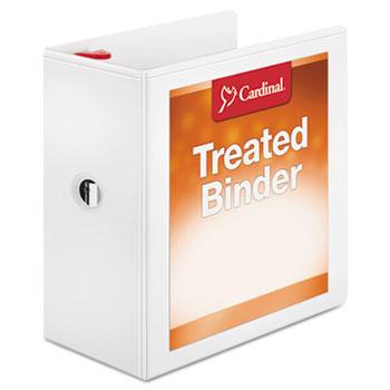 "Cardinal® Treated Binder ClearVue Locking Slant-D Ring Binder, 5"" Cap, 11 x 8 1/2, White"