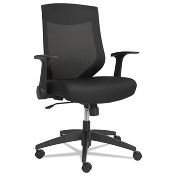 Alera® Alera EB-K Series Synchro Mid-Back Flip Arm Mesh-Chair, Supports up to 275 lbs, Black Seat/Black Back, Black Base