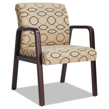 "Alera® Alera Reception Lounge WL Series Guest Chair, 24.21"" x 26.14"" x 32.67"", Tan Seat/Back, Mahogany Base"