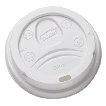 Sip-Through Dome Hot Drink Lids for 10 oz (Medium) Cups, White, 100/Pack, 1000/Carton