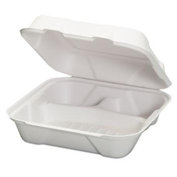 Harvest Fiber Hinged Containers, White, 9 x 9 x 3, 50/Bag, 4 Bag/Carton