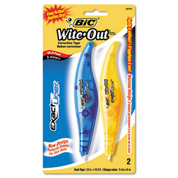 "Wite-Out Exact Liner Correction Tape Pen, 1/5"" x 236"", Blue/Orange, 2/Pack"
