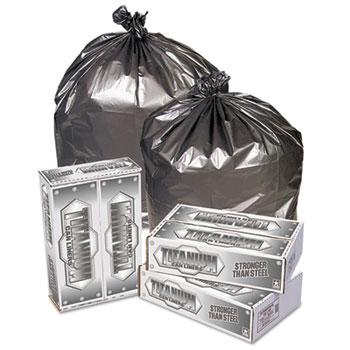 Pitt Plastics Titanium Low-Density Can Liners, 55-60 gal, 1.7 mil, 39 x 57, Silver, 50/Carton