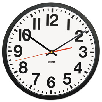 "Universal® Large Numeral Clock with Auto Daylight Savings Adjustment, 13"" Overall Diameter, Black Case, 1 AA (sold separately)"
