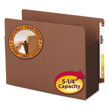 "5 1/4"" Exp File Pockets, Straight Tab, Letter, Brown, 10/Box"