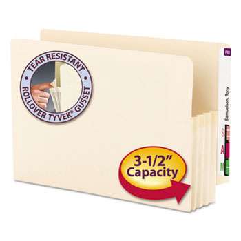 """Smead 3 1/2"""" Exp End Tab File Pocket, Straight Tab, Legal, Manila, 25/Bx"""