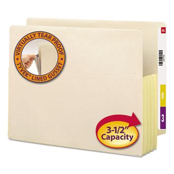 "Smead 3 1/2"" Exp End Tab File Pockets w/Tyvek, Letter, Manila, 10/Box"
