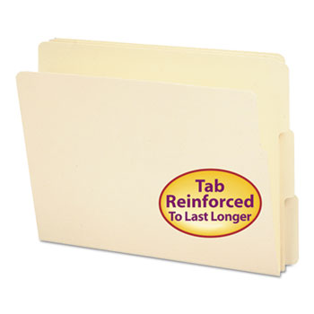 Smead® Folders, 1/3 Cut Assorted, Reinforced End Tab, Letter, Manila, 100/Box