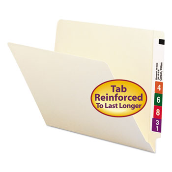 Straight Cut End Tab Folders, 9 1/2 Inch Front, Letter, Manila, 100/Box