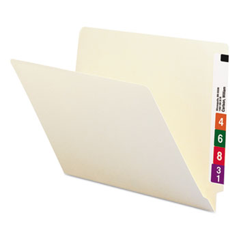 Shelf Folders, Straight Cut, Single-Ply End Tab, Letter, Manila, 100/Box