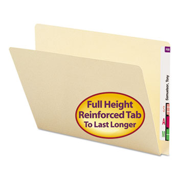 Smead® Folders, Straight Cut, Single-Ply Extended End Tab, Letter, Manila, 100/Box