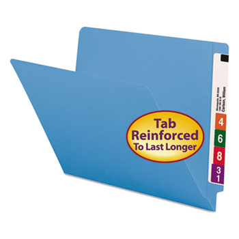 Smead® Colored File Folders, Straight Cut, Reinforced End Tab, Letter, Blue, 100/Box