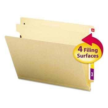 Smead® Manila End Tab Classification Folders, Letter, Four-Section, 10/Box