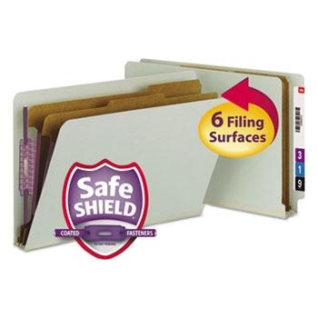 Smead Pressboard End Tab Classification Folder, Legal, Six-Section, Gray/Green, 10/Box