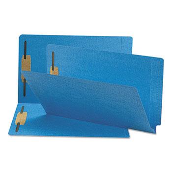 Smead® Two-Inch Capacity Fastener Folders, Straight Tab, Legal, Blue, 50/Box