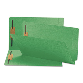 Smead® Two-Inch Capacity Fastener Folders, Straight Tab, Legal, Green, 50/Box
