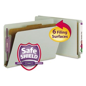Smead® Pressboard End Tab Classification Folder, Legal, 4-Section, Gray/Green, 10/Box