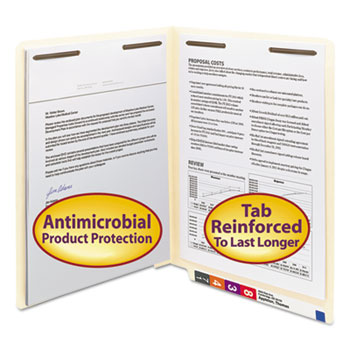 Antimicrobial Two-Fastener End Tab Folder, Letter, 11 Point Manila, 50/Box