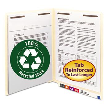 Smead® B Style Fastener File Folders, Straight Tab, Letter, Manila, 50/Box