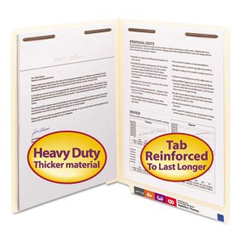 Smead® Heavyweight Folders, Two Fasteners, End Tab, Letter, 14 Point Manila, 50/Box