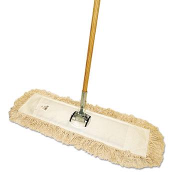 "Cut-End Dust Mop Kit, 36 x 5, 60"" Wood Handle, Natural"