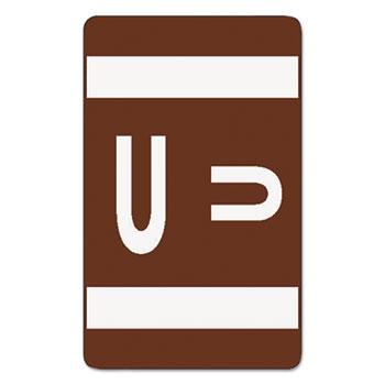 Smead® Alpha-Z Color-Coded Second Letter Labels, Letter U, Dark Brown, 100/Pack