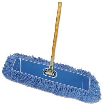 """Boardwalk® Dry Mopping Kit, 36 x 5 Blue Blended Synthetic Head, 60"""" Natural Wood/Metal Handle"""