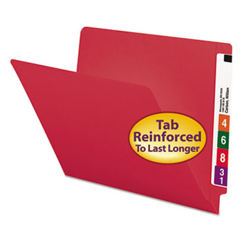 Smead® Colored File Folders, Straight Cut, Reinforced End Tab, Letter, Red, 100/Box