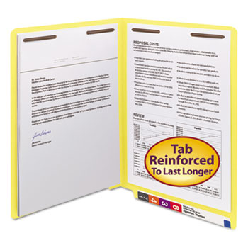 Smead® Two-Inch Capacity Fastener Folders, End Tab, Straight, Letter, Yellow, 50/Box