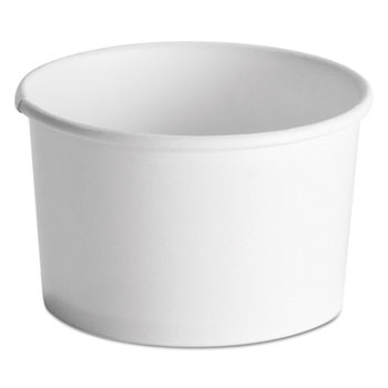 Squat Paper Food Container, Streetside Design, 8-10oz, White, 50/Pack, 20/CT