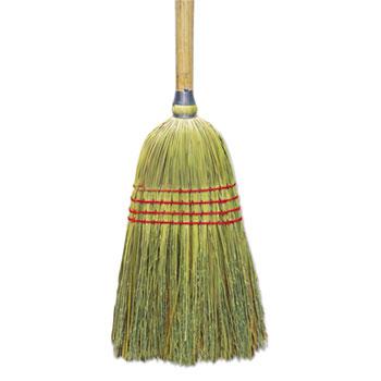 "Upright Corn/Fiber Broom, 56"", Lacquered Wood Handle, Natural, 6/Carton"