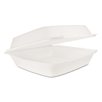 Dart® Hinged Lid Carryout Container, White, 10 1/3 x 3 1/2 x 9 1/2, 100/BG, 2 BG/CT