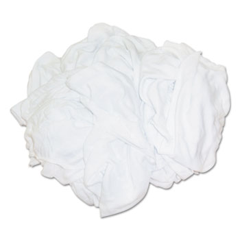 HOSPECO® Bleached White T-Shirt Rags, Multi-Fabric, 25 lb Polybag