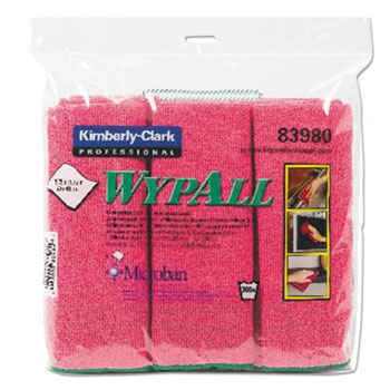WypAll® Cloths with Microban, Microfiber, 15 3/4 x 15 3/4, Red, 6/PK, 4 PK/CT
