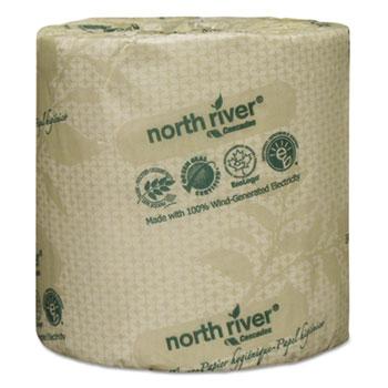North River Standard Bathroom Tissue, 2-Ply, 4 5/16 x 3 3/4, 550/Roll, 80/Carton