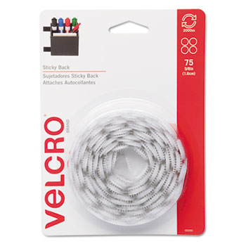 Sticky-Back Hook and Loop Dot Fasteners, 5/8 Inch, White, 75/Pack