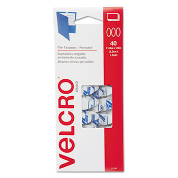 VELCRO® Brand Oval Hook and Loop Fasteners, 7 1/4 x 3, White, 40/Pack