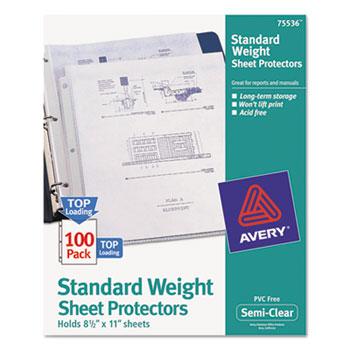 Standard-Weight Sheet Protectors, 100/BX