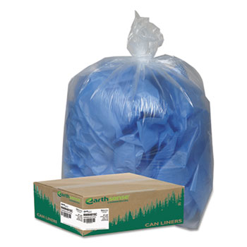 Earthsense® Commercial Clear Recycled Can Liners, 40-45gal, 1.5mil, Clear, 100/Carton