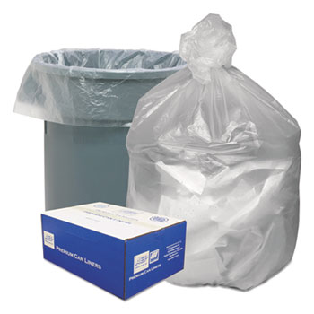 Good 'n Tuff® High Density Waste Can Liners, 56gal, 14 Microns, 43 x 46, Natural, 200/Carton