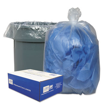Classic Clear Clear Low-Density Can Liners, 31-33gal, .63 Mil, 33 x 39, Clear, 250/Carton