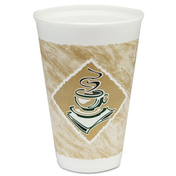 Café G Cups, Foam, 16oz, White/Brown with Green Accents, 1000/CT
