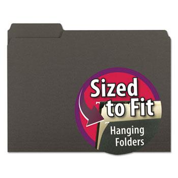 Smead® Interior File Folders, 1/3 Cut Top Tab, Letter, Black, 100/Box