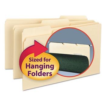 Smead® Interior File Folders, 1/3 Cut Top Tab, Legal, Manila, 100/Box