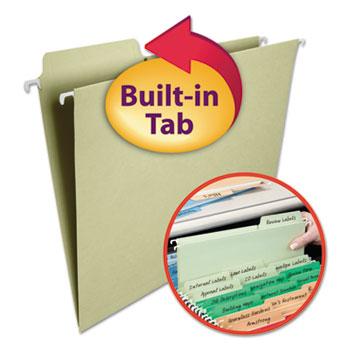 Smead® FasTab Hanging File Folders, 1/3 Tab, Letter, Moss Green, 20/Box